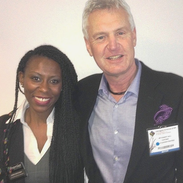 Robert Hall with Sabine Moutiama, Customer Services Manager of Premier Decorations.