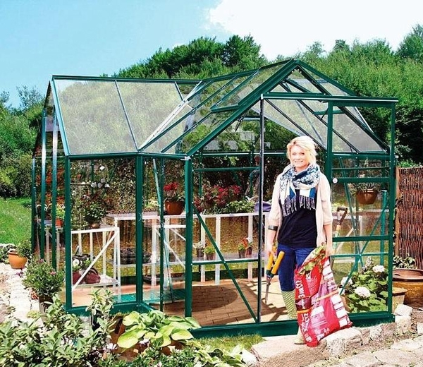 with Powder Coated Green Frame, complete with Base and Long Pane Single Sheet Toughened Glass.