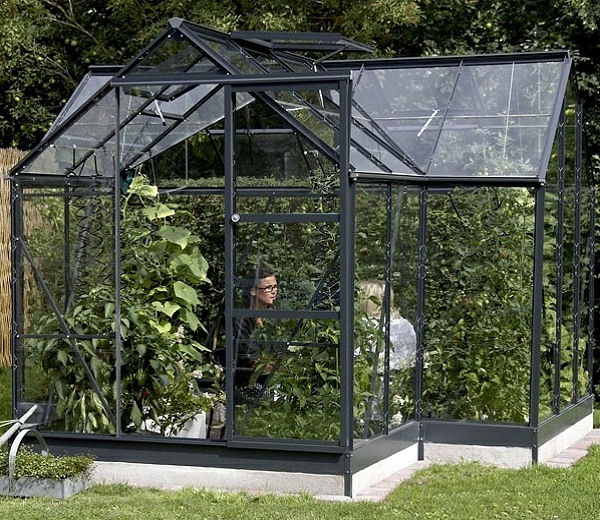 with Powder Coated Anthracite Frame, complete with Base and Long Pane Single Sheet Toughened Glass
