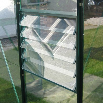 with Louvre Window  in MATCHING POWDER COATED COLOUR