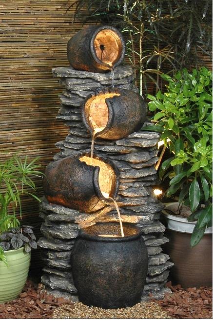 4 Pots On Rock Fountain Water Feature Gardensite Co Uk