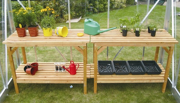 Elite heavy duty wooden greenhouse staging - Wooden staging for greenhouse ...