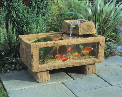 Garden ponds and holding tanks for Garden table fish pond