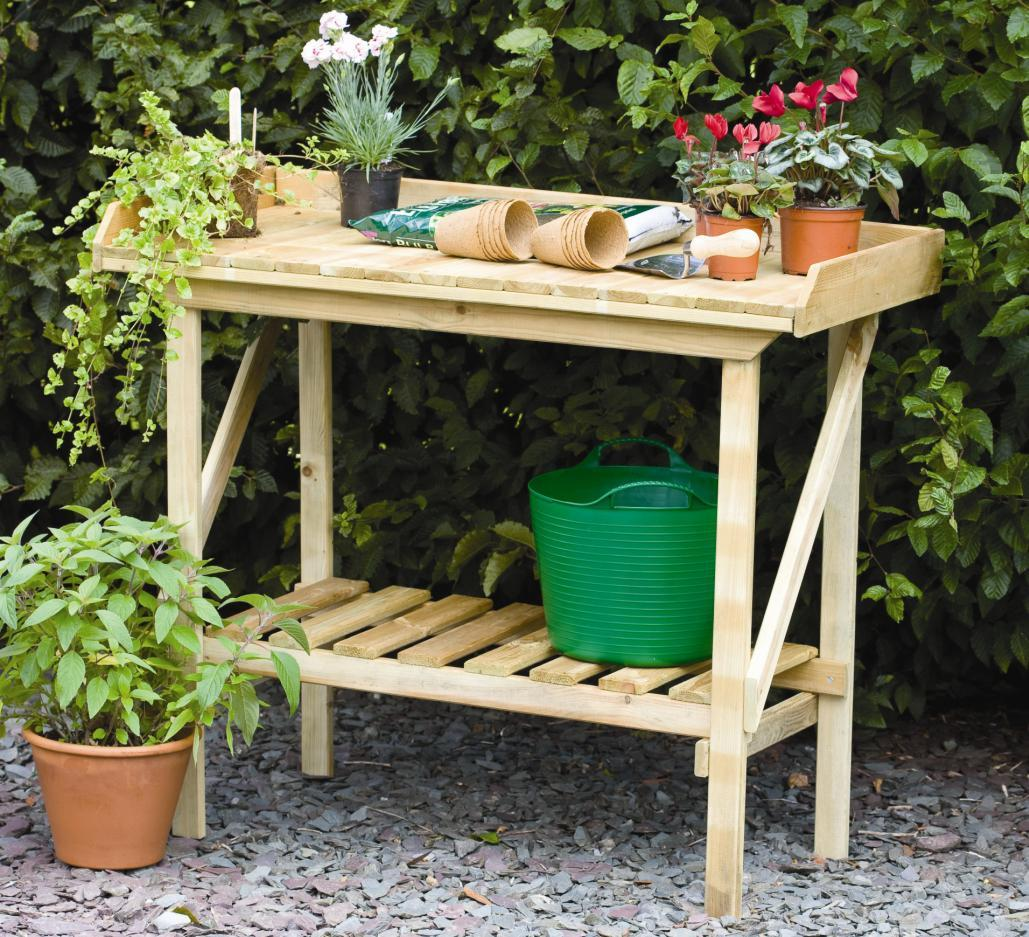 Forest Timber Potting Bench With Shelf