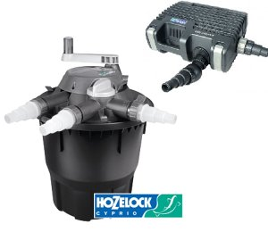 with Hozelock Bioforce Revolution 6000 Filter & Pump with FREE Hose (6m 25mm) and Clips