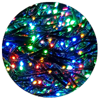768 Multi-Coloured LED Cluster Lights with Dark Green Cable