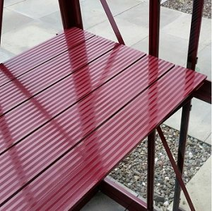 with 6ft Long (19inch Wide) 5 Slat Diamond Staging in MATCHING POWDER COATED FINISH