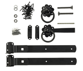with Black Ring Gate Latch Set
