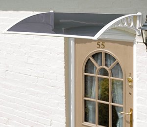 1m Door Grey Tinted Canopy WHITE