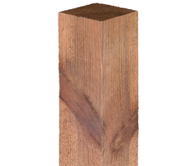 with 6ft x 75mm x 75mm Brown Rough Sawn Post