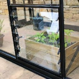 with Eden 24ins BLACK Louvre Window with Toughened Glass