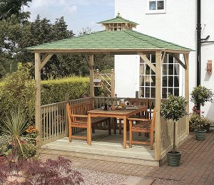 as Canopy, Floor and Balustrades with Green Felt Roof Tiles