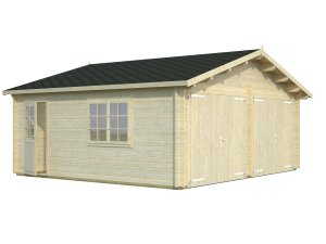 with Wooden Double Garage Doors