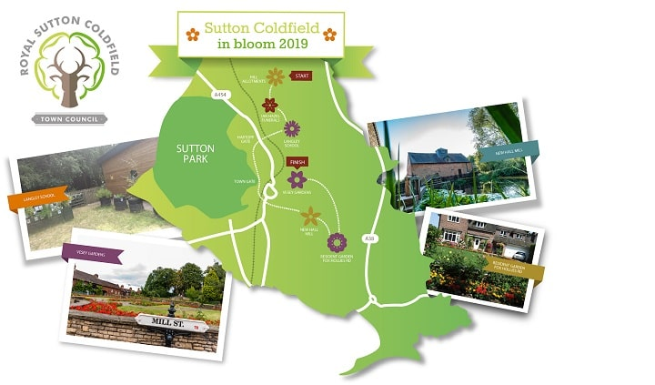 A map of Sutton Coldfield with key places you could visit