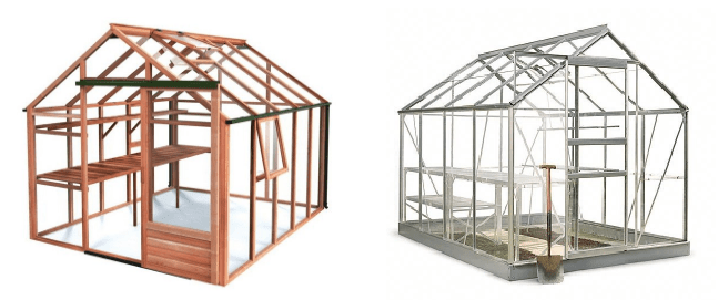 A wooden and metal greenhouse.