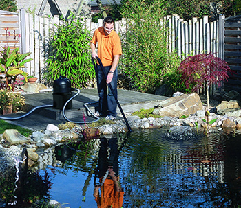 Man using Pontec products in his pond