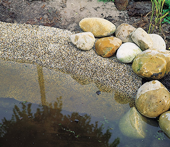 Oase stone pond liner in use