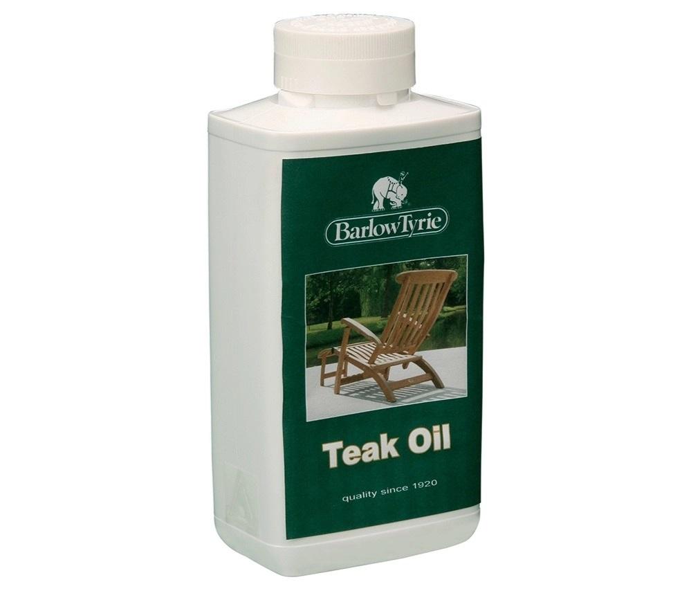 A bottle of Barlow Tyrie teak oil.
