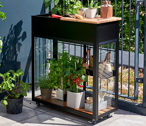 Vertical greenhouse in use