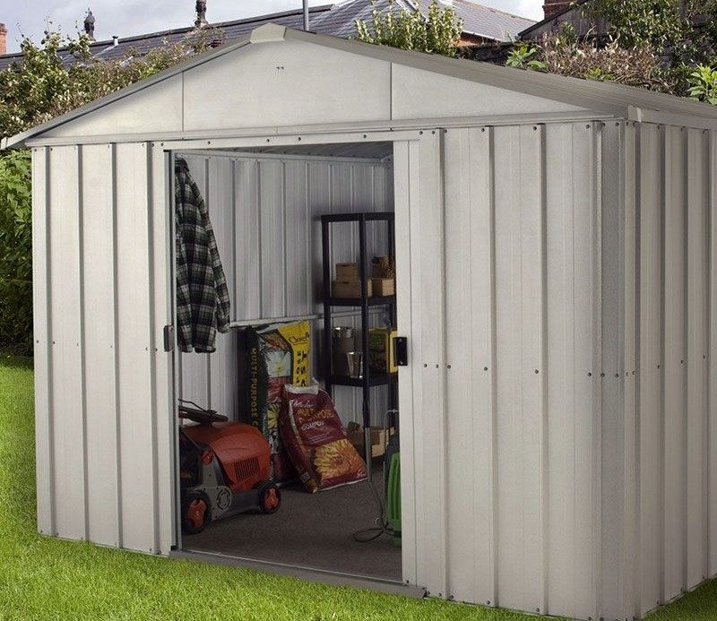 A traditional silver metal shed from YardMaster.