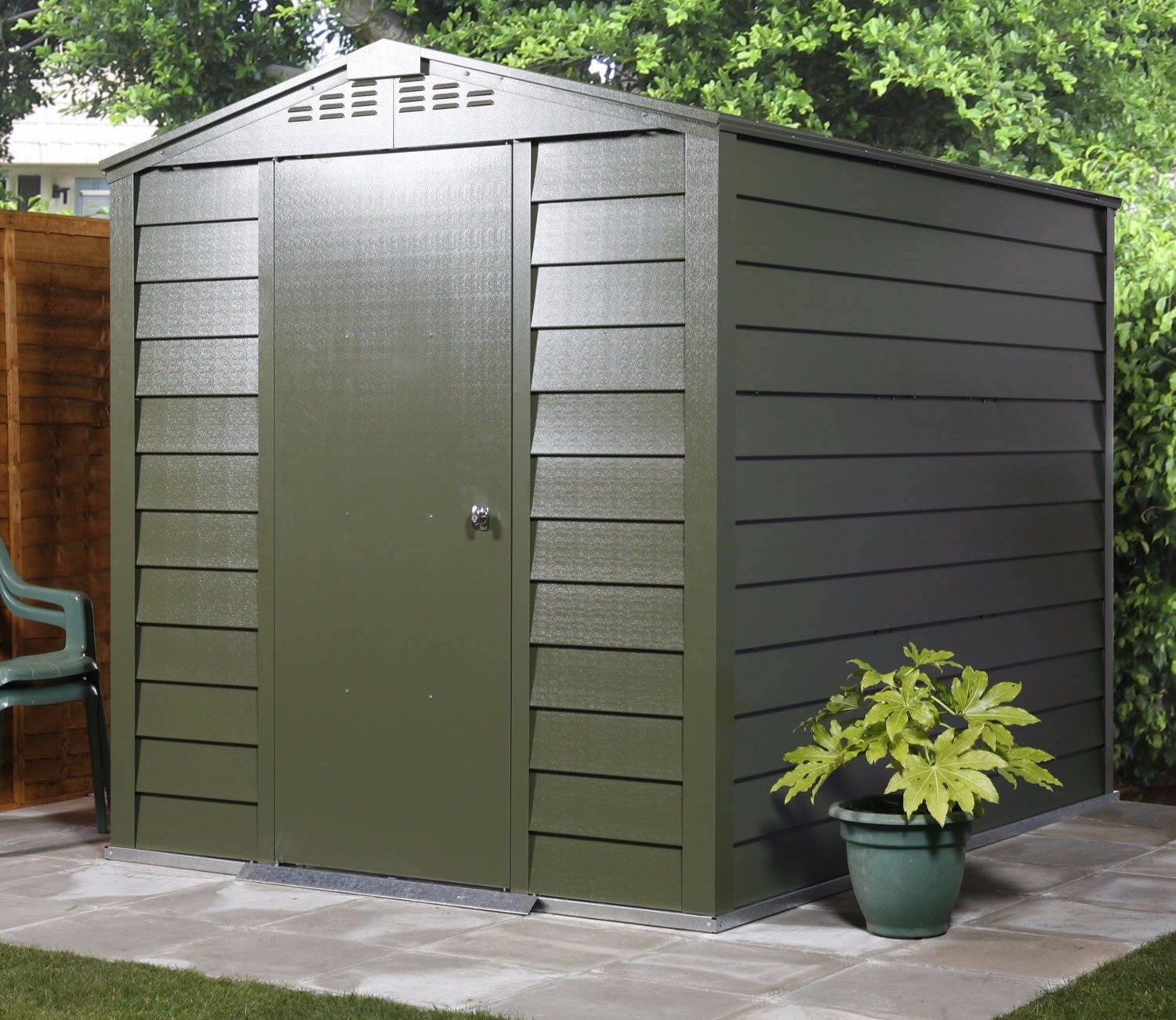 A Trimetals Titan green metal shed.