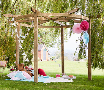 Carousel Pergola In Garden With Decorations