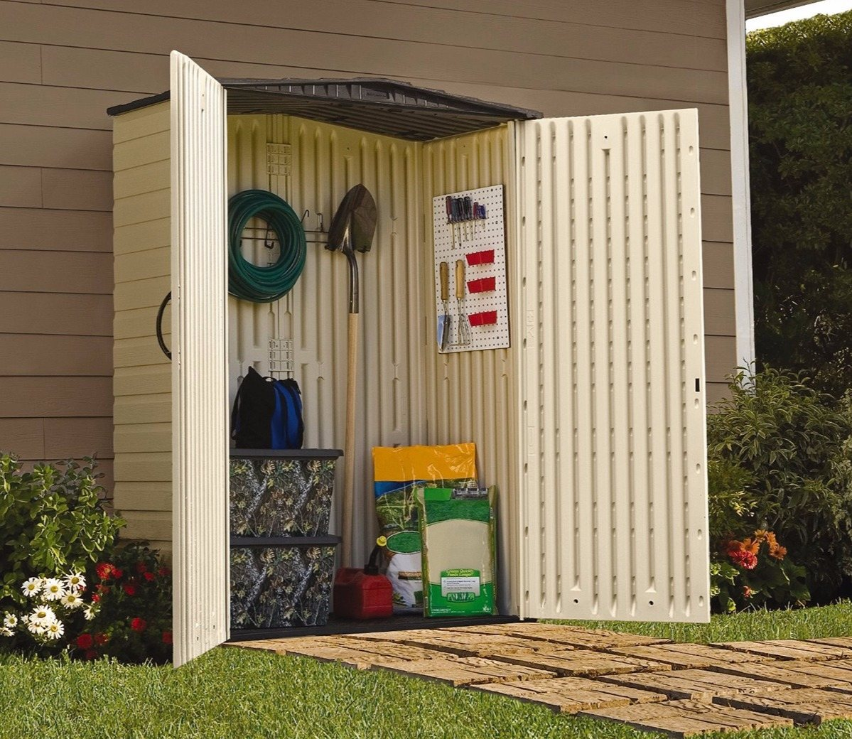 The Rubbermaid 5x2ft plastic shed.