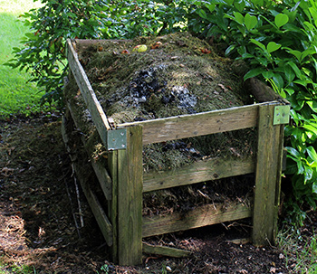 Composter in use in a garden