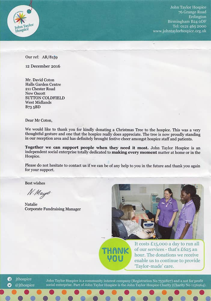 Thank you letter from John Taylor Hospice for the Christmas tree we provided