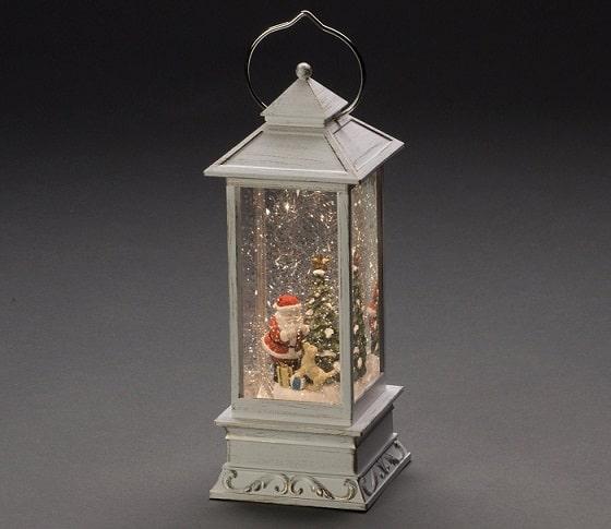 Christmas glitter lantern with tree and santa inside