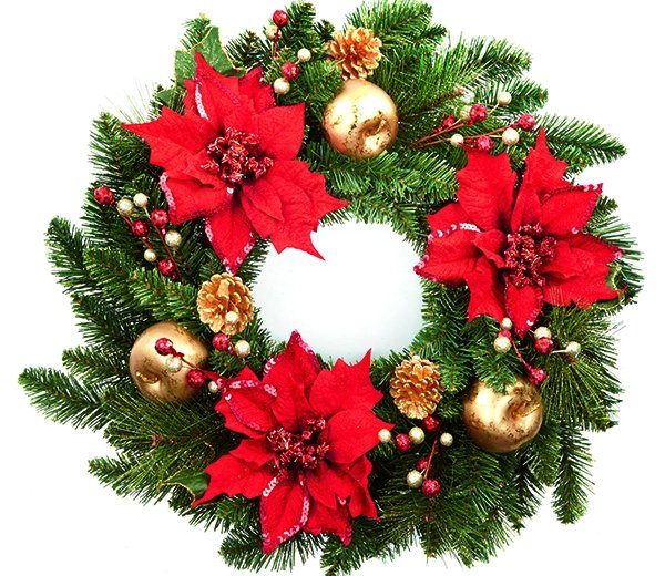 Christmas wreaths for sale.
