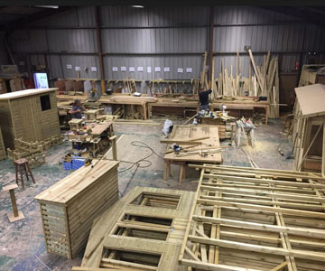 Churnet Valley Warehouse with a plethora of timber products being constructed