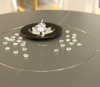 Jewellery on a stunning high-pressure laminate Equinox tabletop, showcasing its scratch resistance