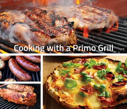 Meat and Pizza cooking on a primo grill