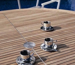 3 Tea cups with saucers atop a Barlow Tyrie Equinox tabletop