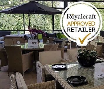 Inside a showroom with patio furniture. Royalcraft approved retailer