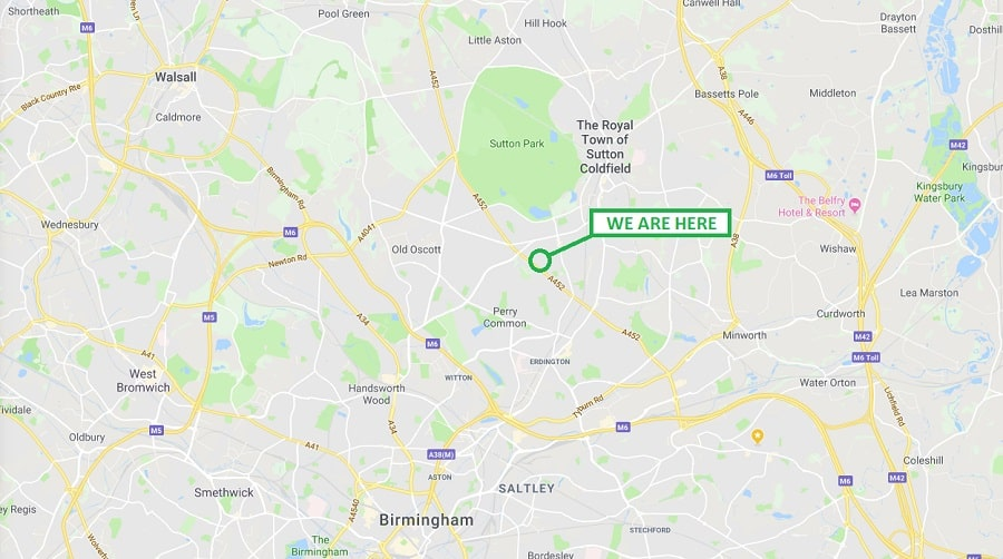 We are located 211 Chester Road, Sutton Coldfield, B73 5BD. We are not far from Chester Road Station and Wylde Green Station. It would be a 10-15 minute walk from both.