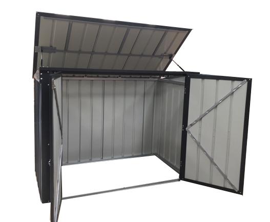 A large wheelie bin store