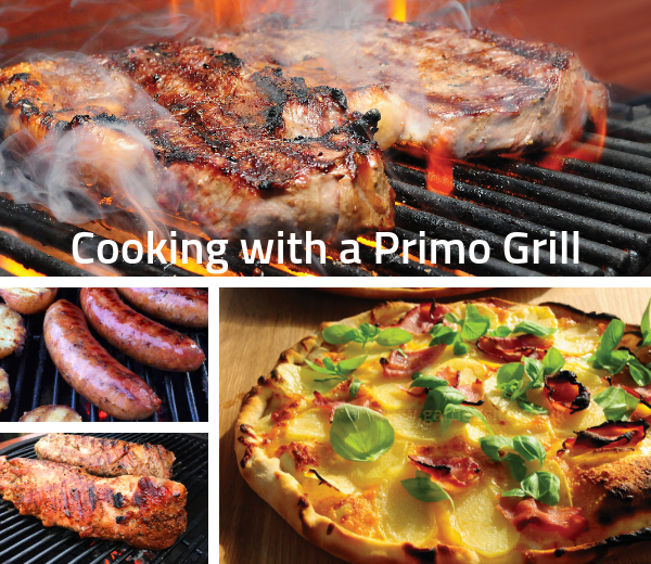 Cooking with a Primo Oval Grill.