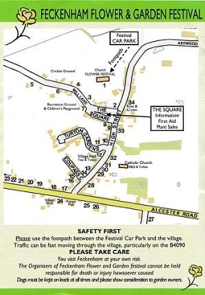Feckenham Flower & Garden Festival Map, Safety Advice and Disclaimers