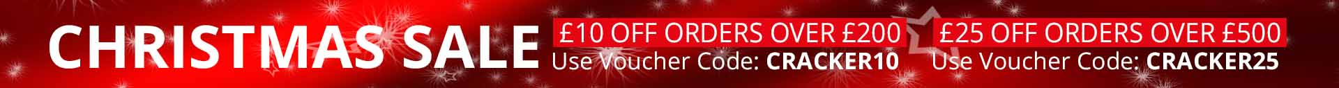 £10 off orders over £200 and £25 off orders over £500.