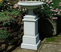 Haddonstone Memorial Urn Bird Bath with Stone-Cut Inscription