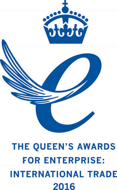 The Queen's Award For Enterprise: International Trade 2016. A crown above an e with a wing attached.